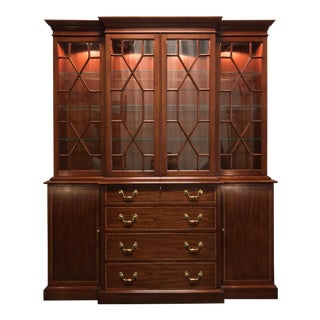 Henkel Harris Solid Wild Black Cherry Chippendale Breakfront China Cabinet