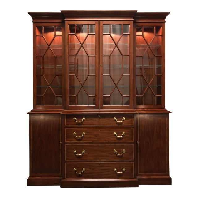 Henkel Harris Solid Wild Black Cherry Chippendale Breakfront China Cabinet For Sale