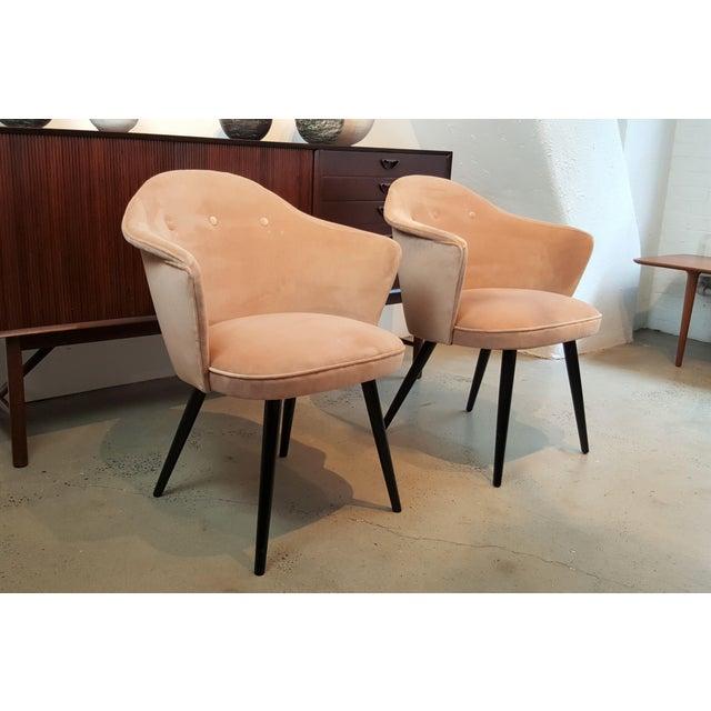 Orange Italian Modern Blush Velvet Chairs - A Pair For Sale - Image 8 of 10