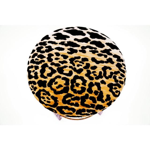 Vintage Italian Gold Gilt & Leopard Velvet Vanity Accent Stool - Image 7 of 7