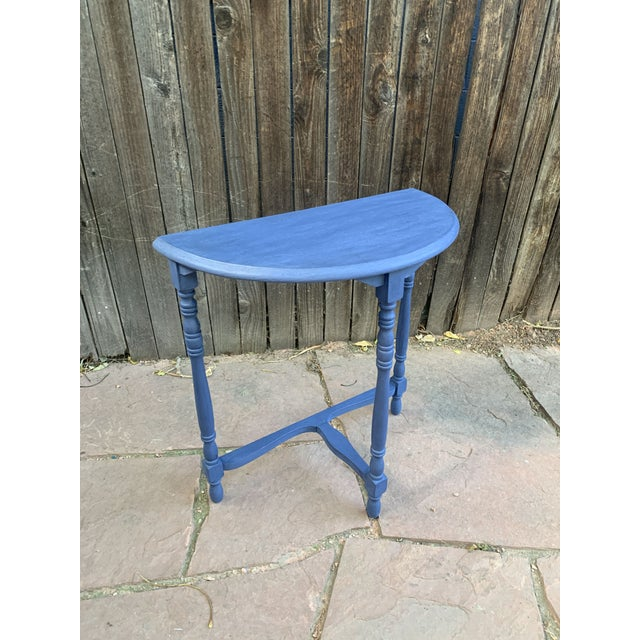 Transitional Blue Chalk Paint Demi Lune Side Table With Turned Legs For Sale In Denver - Image 6 of 13