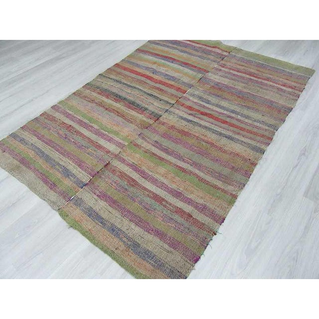 Colorful Striped Turkish Rag Rug - 5′2″ × 7′4″ For Sale - Image 5 of 6