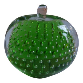 Vintage Green Apple Glass Paper Weight