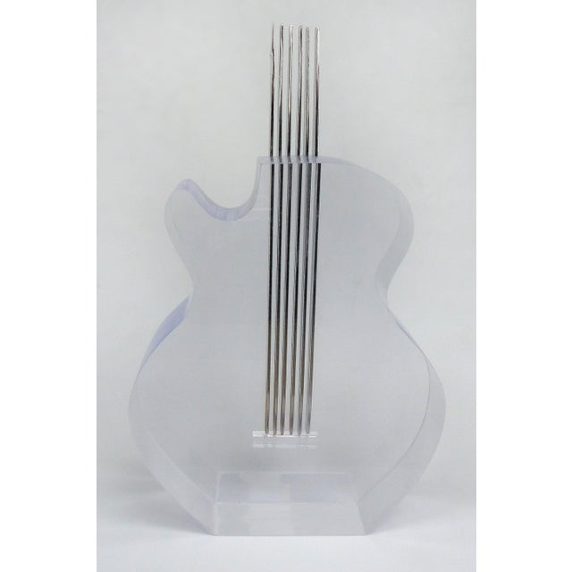 Custom Lucite and Stainless Steel Sculpture of a Guitar For Sale - Image 10 of 13