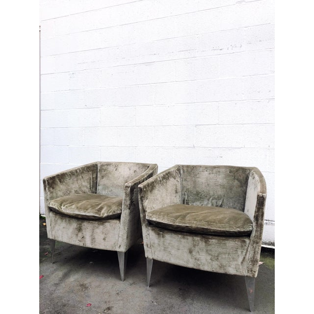Contemporary Bernhardt Furniture Co. Contemporary Club Chairs in Original Sage Crushed Velvet - a Pair For Sale - Image 3 of 12