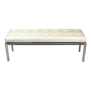 Mid Century Chrome Bench With Linen Cushion