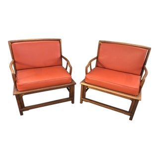 Widdicomb Asian Style Armchairs in Orange Leather- A Pair For Sale