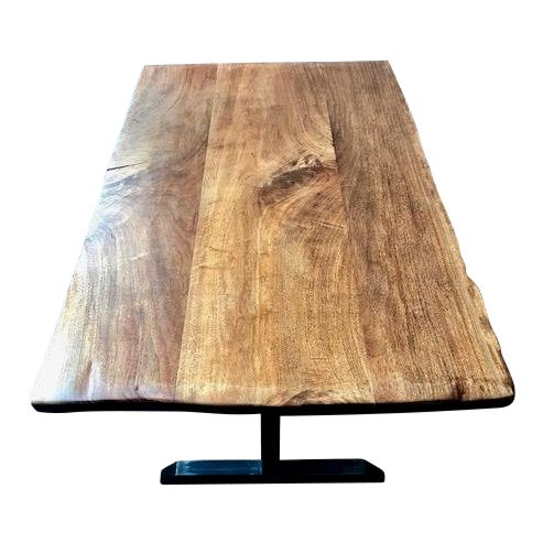 Contemporary Live Edge Black Walnut Table With Blackened Steel Pedestal Base For Sale