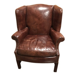 1990s Vintage Leather Wing Chair For Sale