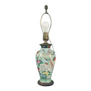 1920s Chinese Famille Vert Table Lamp Base With Pheasant Bird Decoration For Sale