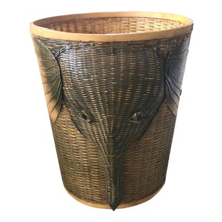 Vintage Dimensional Elephant Wicker Wastebasket For Sale
