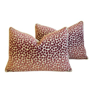 "Designer Leopard Spot Chenille/Velvet Feather & Down Pillows 26"" X 18"" - Pair For Sale"