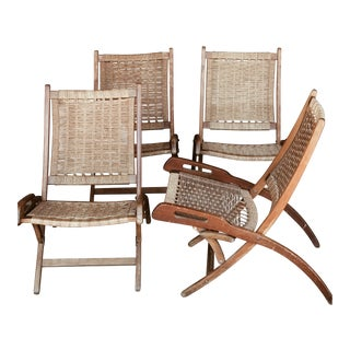 Mid Century Woven Folding Chairs - Set of 4