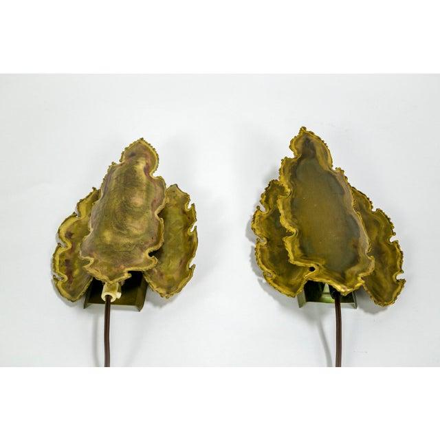 Brutalist Brass Flame Leaf Sconces - a Pair For Sale - Image 11 of 11