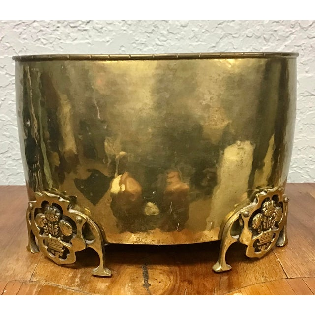 English English Brass Prince of Wales Footed Planter For Sale - Image 3 of 9
