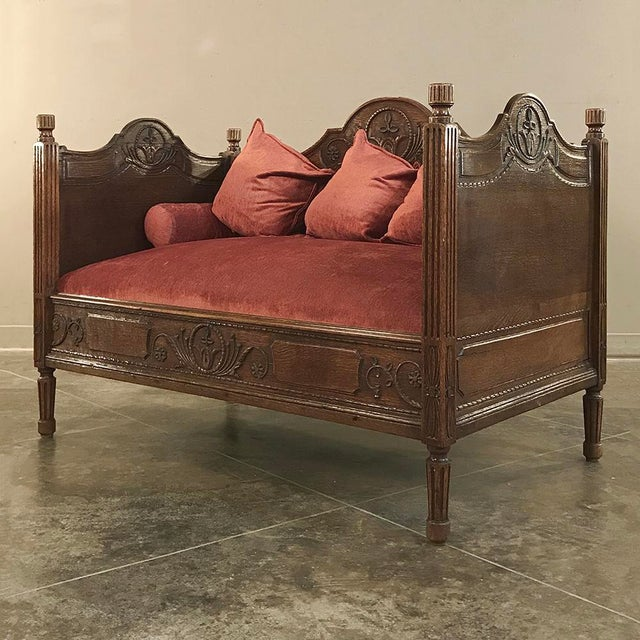 19th Century French Rustic Louis XVI Canape (Petite Sofa) For Sale - Image 4 of 13