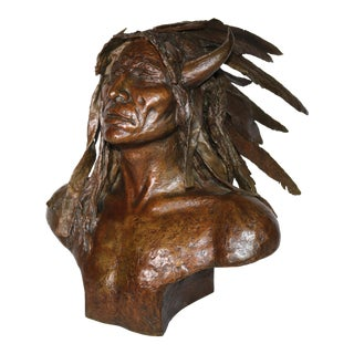 "1970s ""Crazy Horse"" Bronze Bust by Ernest Berke For Sale"