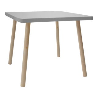 "Tippy Toe Small Square 23.5"" Kids Table in Maple With Gray Finish Accent For Sale"