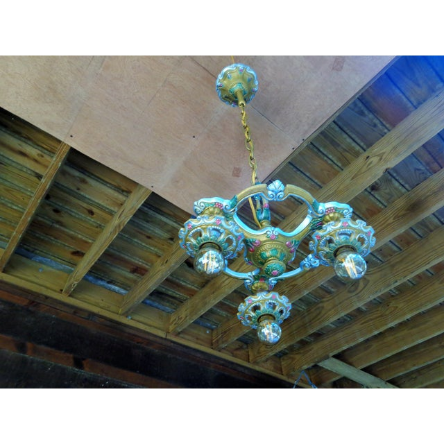 Antique Small Green and Blue Art Deco Chandelier - Image 2 of 9