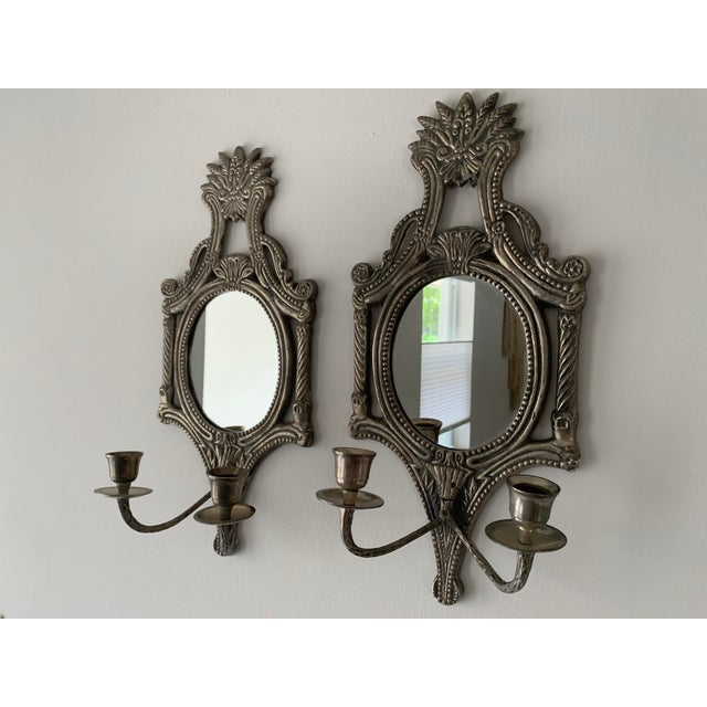 Silver Mirrored Candle Wall Sconces - a Pair For Sale - Image 8 of 8