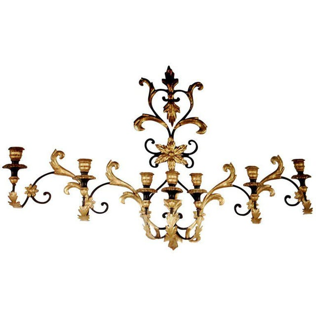 Rococo Seven-arm Monumental Wall Sconce For Sale - Image 3 of 3
