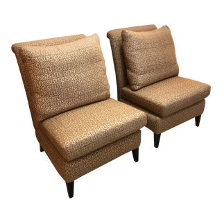 Contemporary Raw Silk Upholstered Slipper Chairs - a Pair For Sale