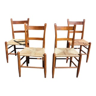 Antique Primitive Rustic Thumb Back Slat Dining Chairs Rope Seats - Set of 4 For Sale