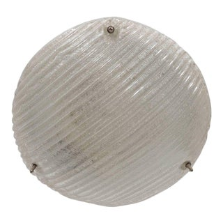 Striated Mid-Century Modernist Flush Mount with Nickel Fittings For Sale