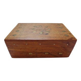 Indian Brass Inlay Wood Box For Sale
