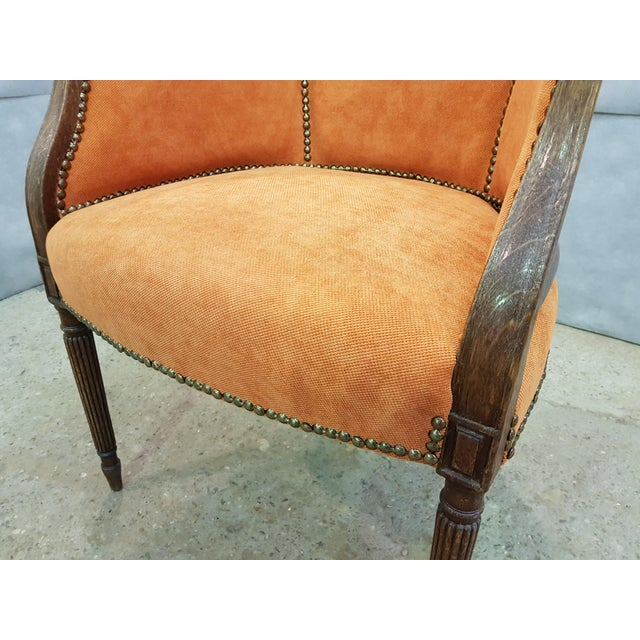 Oak French Antique 19th Century Louis XVI Style Barrel Back Oak Bergère Neoclassical Armchair For Sale - Image 7 of 13