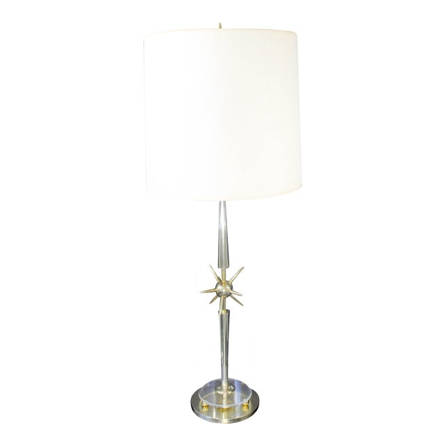 1950s Mid-Century Modern Mutual Sunset Co. Sputnik Atomic Glass & Brass Table Lamp For Sale