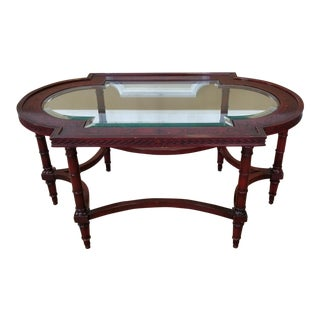 John Widdicomb Neo-Classical Style Painted Glass Top Cocktail ~ Coffee Table C1990s For Sale