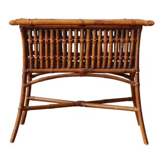1950s Boho Chic Bamboo Console Table For Sale