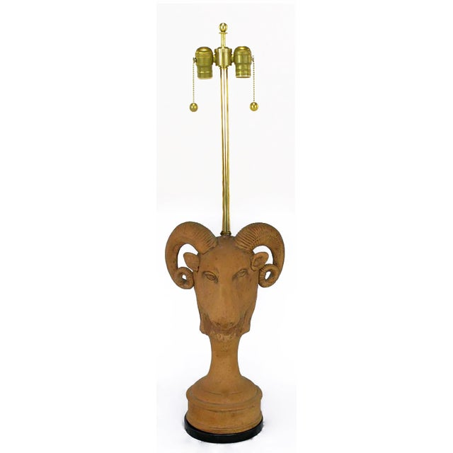 Pair of Italian Terracotta Ram's Head Table Lamps - Image 2 of 6
