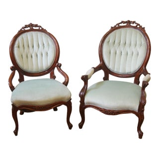Late 19th Century Antique Victorian Button Tufted Chairs- A Pair For Sale