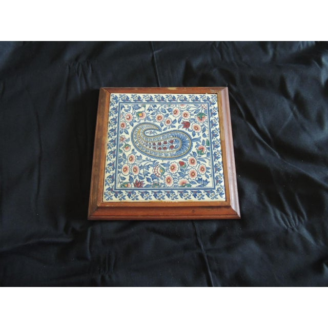 1980s Hand Painted Paisley Ceramic Persian Tile Trivet Inset in Wooden Frame For Sale - Image 5 of 5