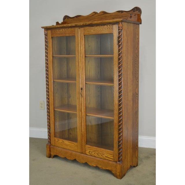 Antique Victorian Oak 2 Door Bookcase For Sale - Image 9 of 12