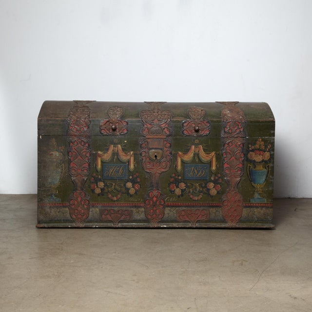 Danish Original Painted Dowry Chest Circa 1835 For Sale - Image 11 of 11