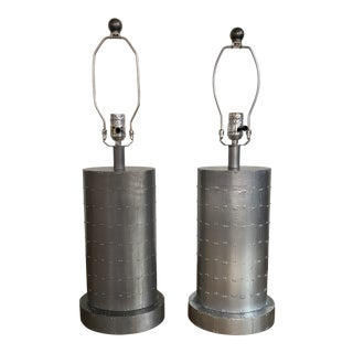 Arteriors Deco-Style Studded Leather Lamps - a Pair For Sale