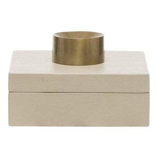 Contemporary Cream Leather Decorative Box For Sale