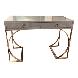 Ultra Sleek Gray Lacquer Desk with Curved Brass Legs