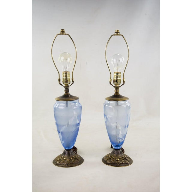 Brass Vintage 19th Century Etched Glass Table Lamps - A Pair For Sale - Image 7 of 7
