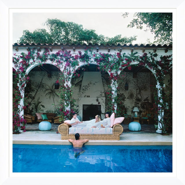 """Slim Aarons Slim Aarons, """"Sofa by the Pool,"""" January 1, 1984 Getty Images Gallery Framed Art Print For Sale - Image 4 of 5"""
