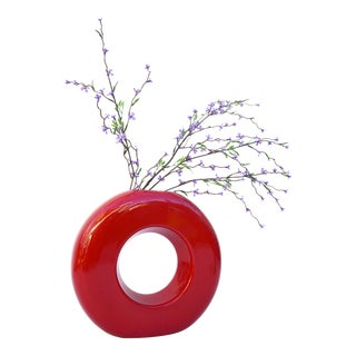 Modernist Mid-Century Circular Red Ceramic Toyo Ikebana Vase /Planter For Sale