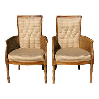 Vintage Cane and Faux Bamboo Upholstered Armchairs / Side Chairs For Sale