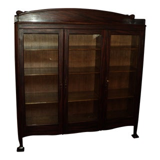Antique Three Door Bookcase, Oak W. Faux Rosewood Finish For Sale