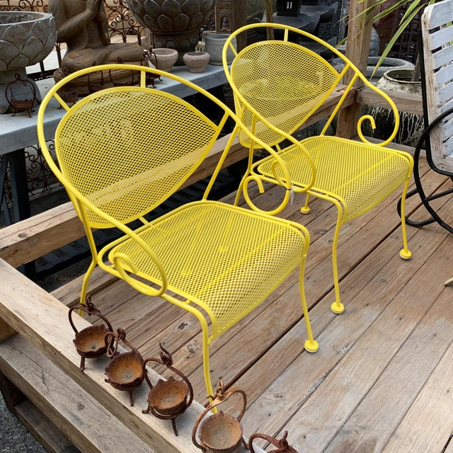 Boho Chic Vintage Lemon Yellow Outdoor Garden Chair - Set of Four For Sale - Image 3 of 4
