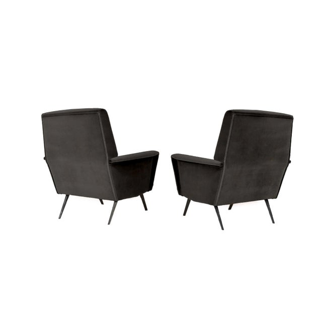Exceptional pair of 1960s Italian Armchairs - Reupholstered in a super-plush, charcoal, mohair. The solid steel legs have...