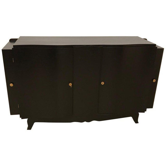 French Art Deco Black Lacquered Sideboard or Buffet With Dry Bar For Sale - Image 12 of 12