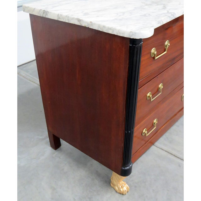 Wood 19thC French Directoire Style Marble Top Commode For Sale - Image 7 of 10